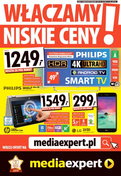 Mediaexpert gazetka promocyjna od 2018-03-01, strona 1